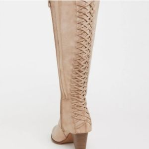 New Torrids lace up sexy knee high boots light tan